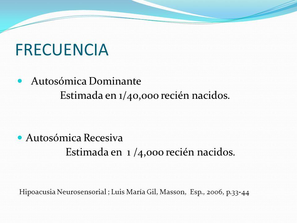 FRECUENCIA Autosómica Dominante Estimada en 1/40,000 recién nacidos.