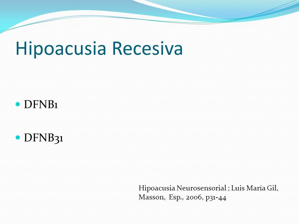 Hipoacusia Recesiva DFNB1 DFNB31