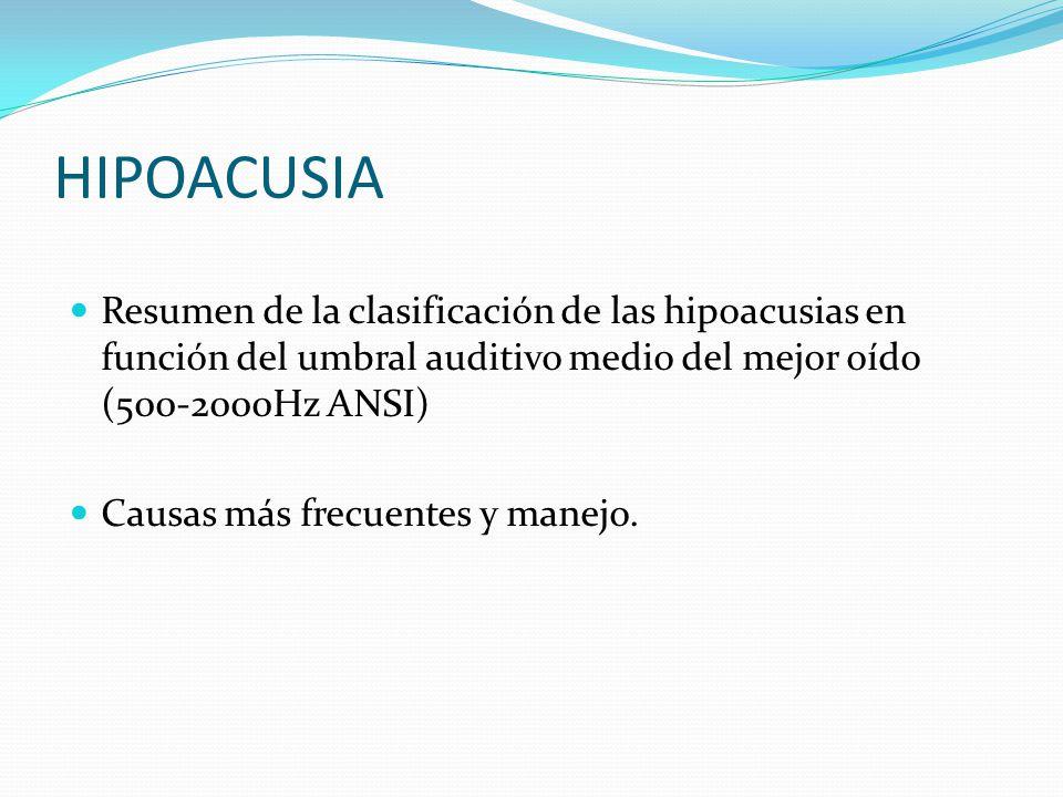 HIPOACUSIA Resumen de la clasificación de las hipoacusias en función del umbral auditivo medio del mejor oído (500-2000Hz ANSI)