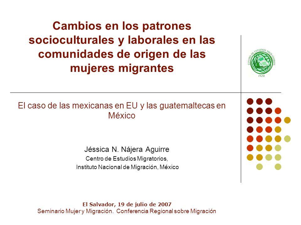 Cambios en los patrones socioculturales y laborales en las comunidades de origen de las mujeres migrantes El caso de las mexicanas en EU y las guatemaltecas en México