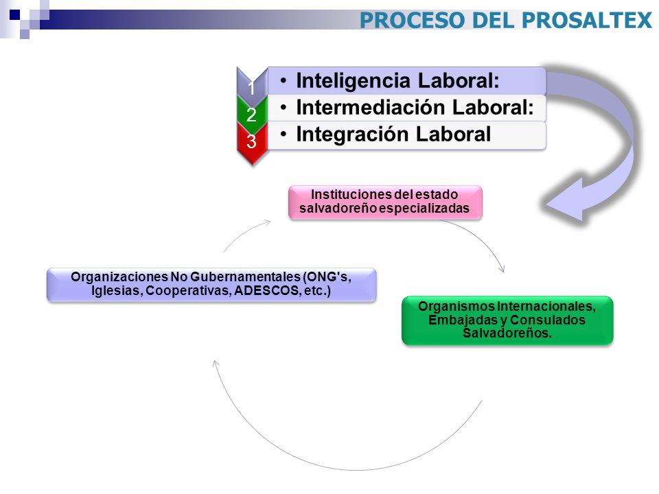 PROCESO DEL PROSALTEX 1. Inteligencia Laboral: 2. Intermediación Laboral: 3. Integración Laboral.