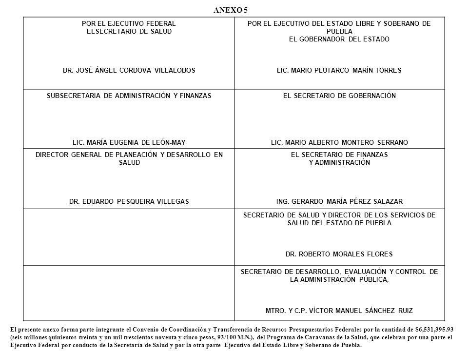 ANEXO 5 POR EL EJECUTIVO FEDERAL ELSECRETARIO DE SALUD