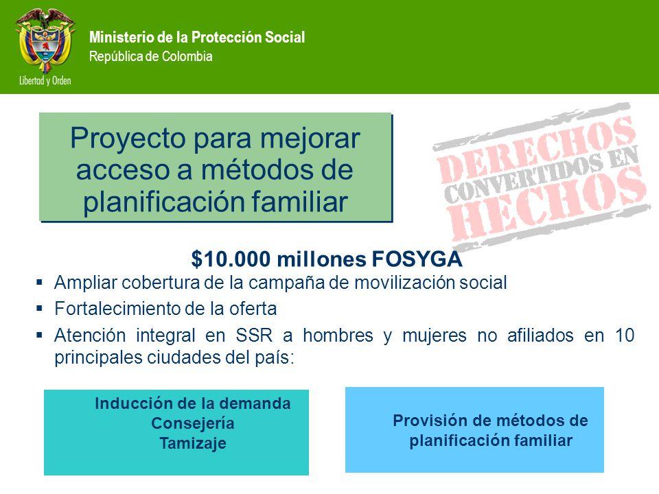 Proyecto para mejorar acceso a métodos de planificación familiar