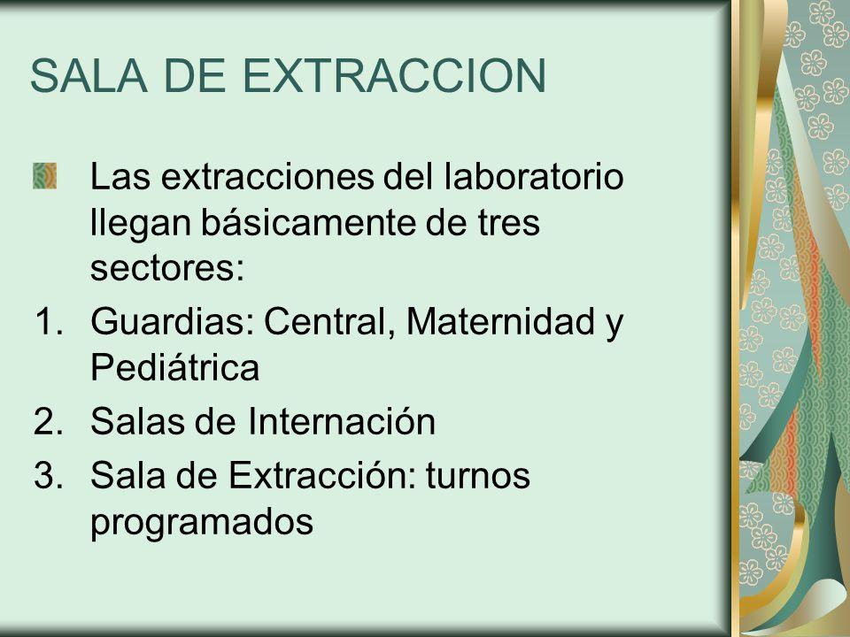 SALA DE EXTRACCION Las extracciones del laboratorio llegan básicamente de tres sectores: Guardias: Central, Maternidad y Pediátrica.
