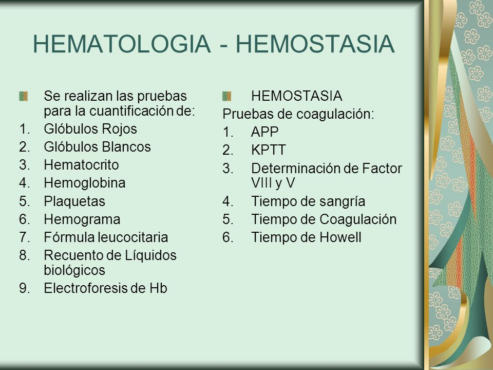 HEMATOLOGIA - HEMOSTASIA