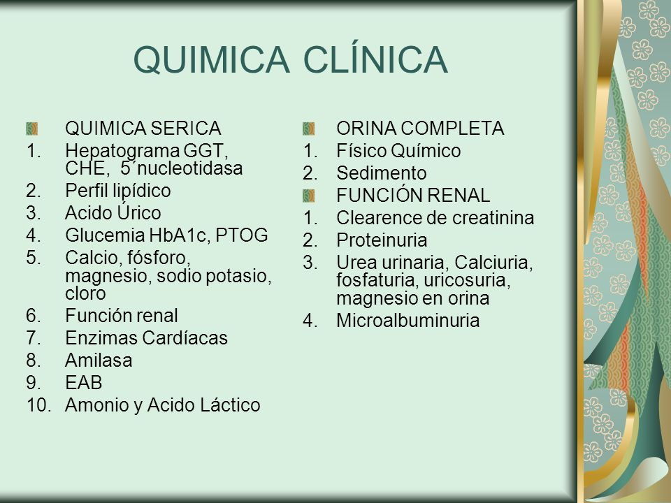 QUIMICA CLÍNICA QUIMICA SERICA Hepatograma GGT, CHE, 5´nucleotidasa