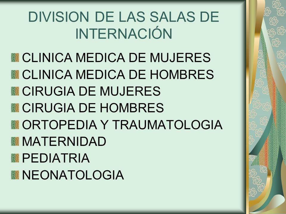 DIVISION DE LAS SALAS DE INTERNACIÓN