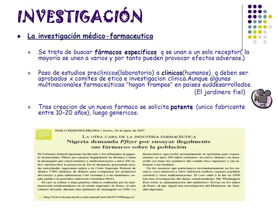 INVESTIGACIÓN La investigación médico-farmaceutica