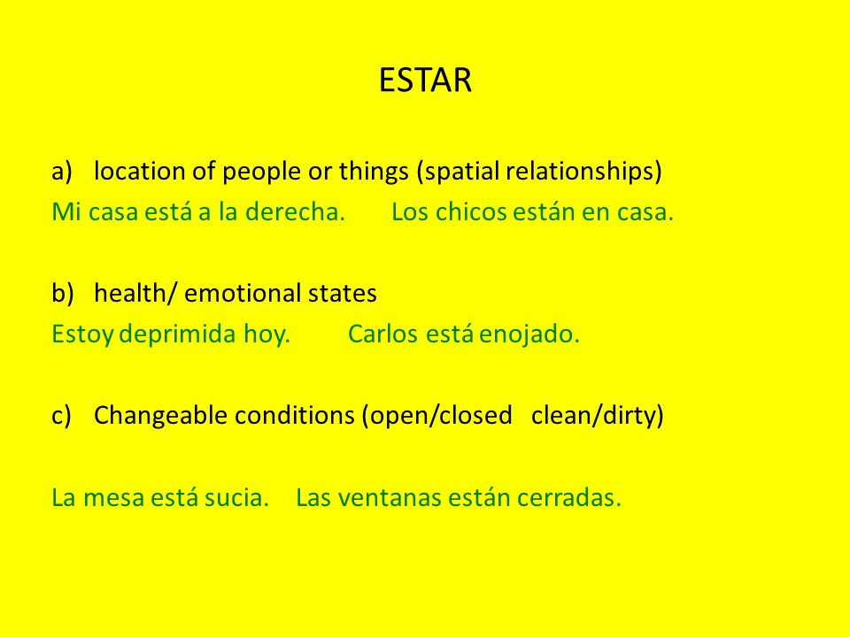ESTAR location of people or things (spatial relationships)
