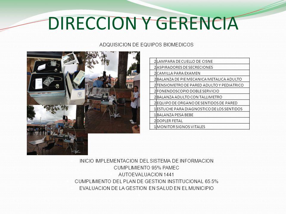 DIRECCION Y GERENCIA ADQUISICION DE EQUIPOS BIOMEDICOS