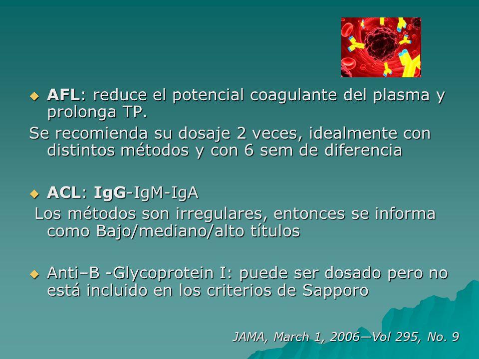 AFL: reduce el potencial coagulante del plasma y prolonga TP.