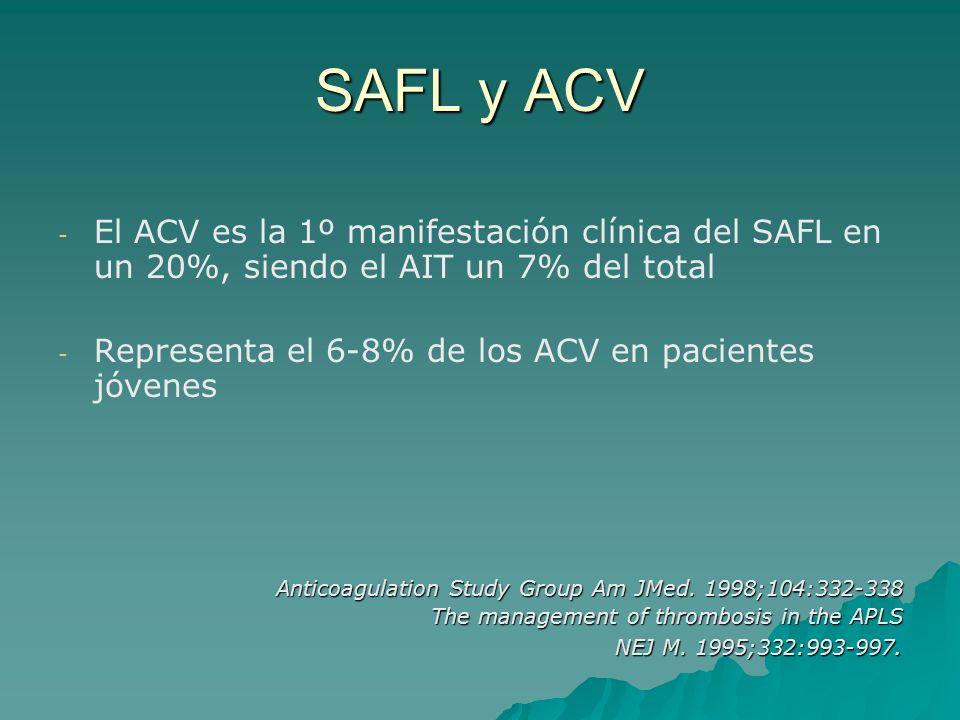 SAFL y ACV El ACV es la 1º manifestación clínica del SAFL en un 20%, siendo el AIT un 7% del total.