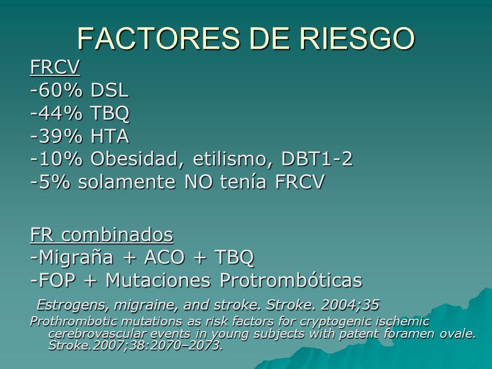 FACTORES DE RIESGO FRCV -60% DSL -44% TBQ -39% HTA