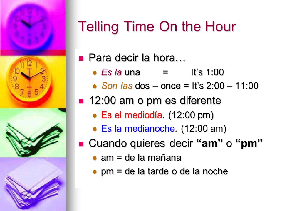 Telling Time On the Hour