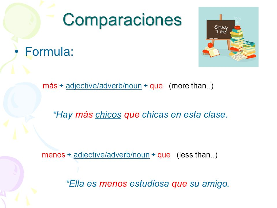 Comparaciones Formula: más + adjective/adverb/noun + que (more than..)