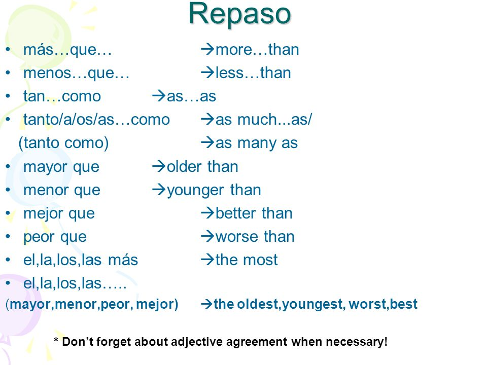 Repaso más…que… more…than menos…que… less…than tan…como as…as