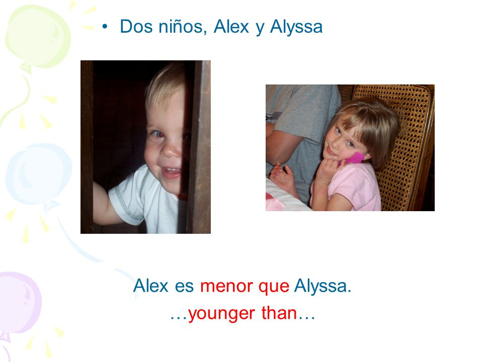 Alex es menor que Alyssa.