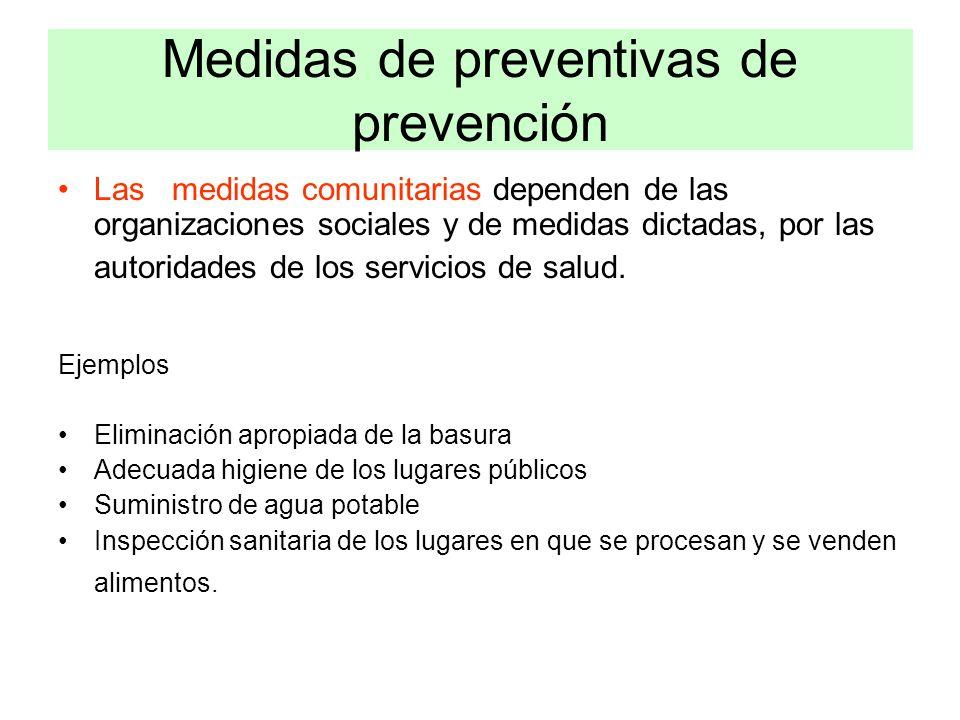 Medidas de preventivas de prevención