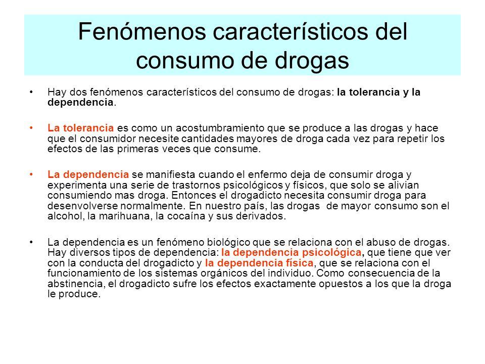 Fenómenos característicos del consumo de drogas