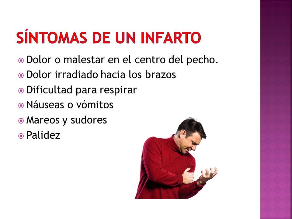 SÍNTOMAS DE UN INFARTO Dolor o malestar en el centro del pecho.