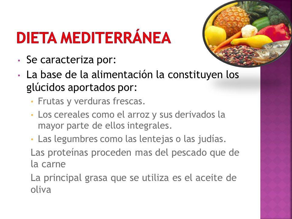 DIETA MEDITERRÁNEA Se caracteriza por: