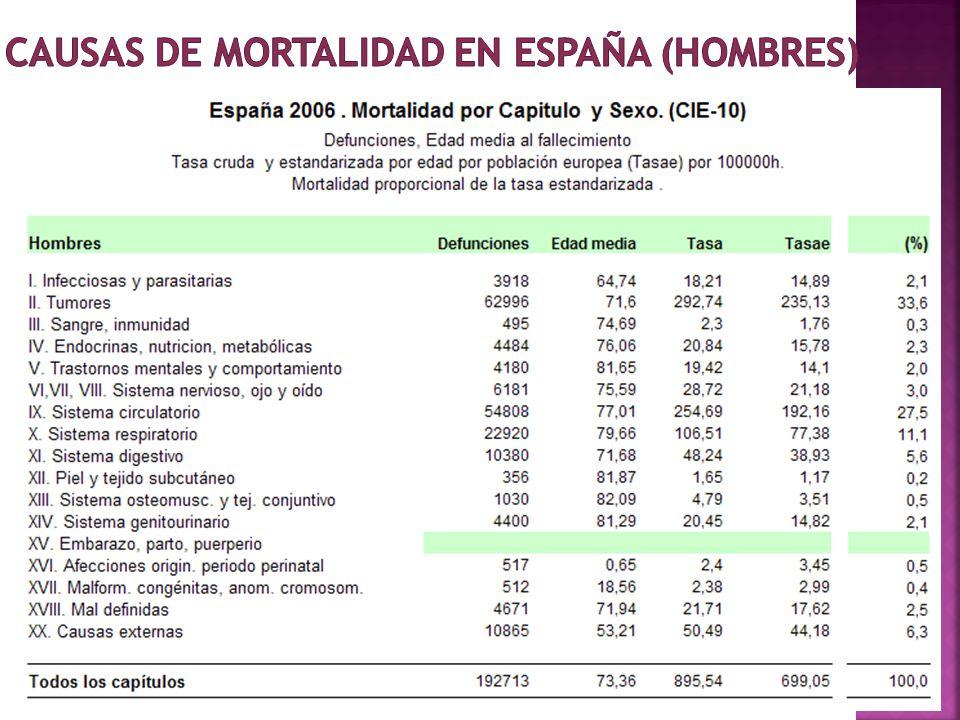 Causas de mortalidad en España (hombres)