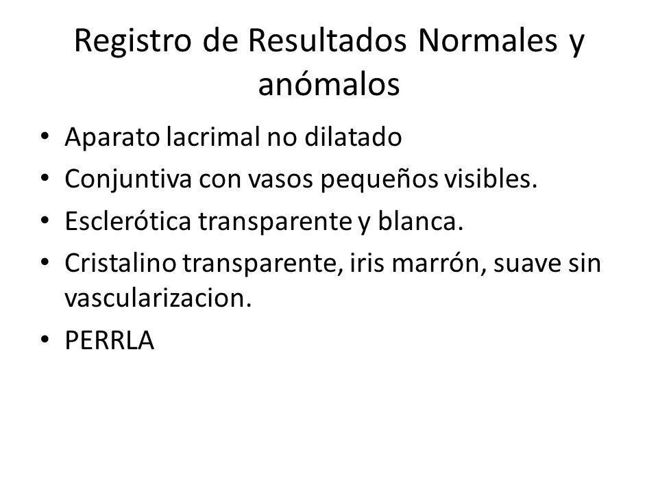 Registro de Resultados Normales y anómalos