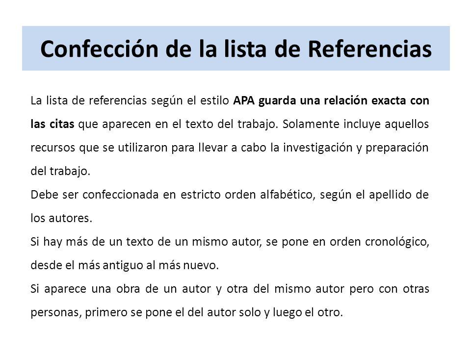 Confección de la lista de Referencias