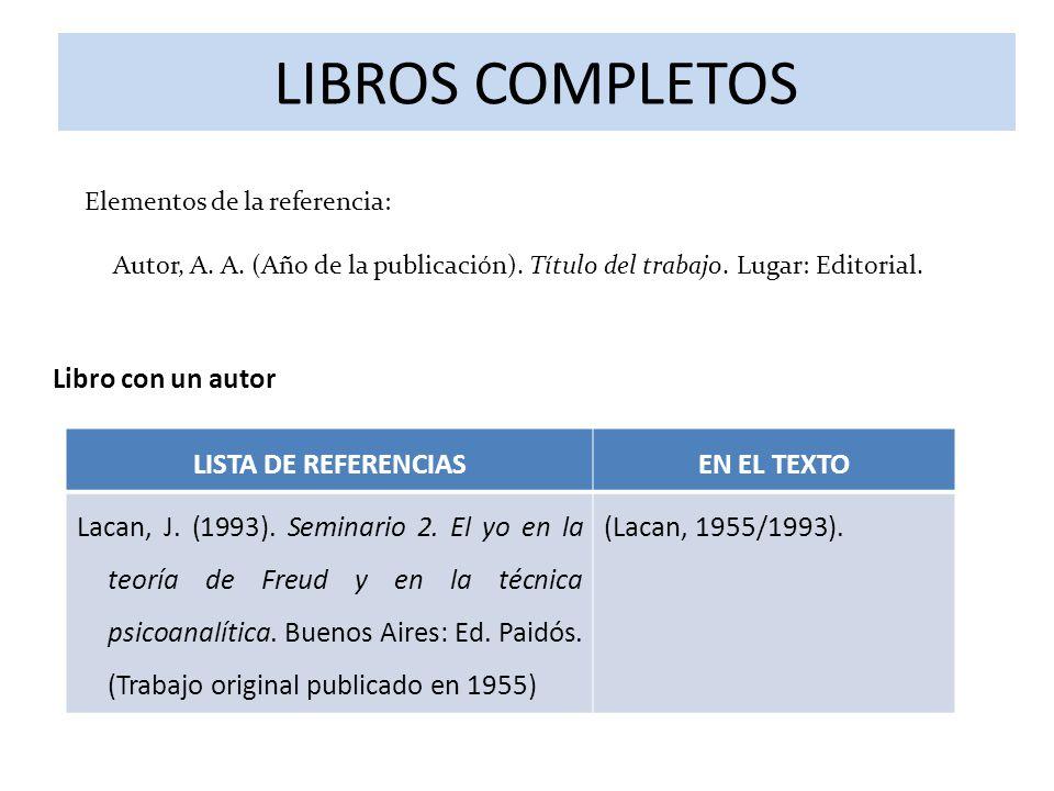 LIBROS COMPLETOS Libro con un autor LISTA DE REFERENCIAS EN EL TEXTO