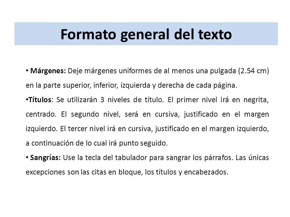 Formato general del texto