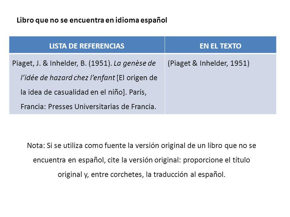 Libro que no se encuentra en idioma español