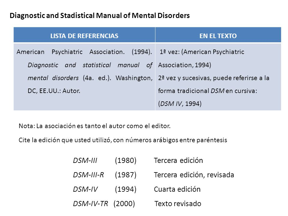 Diagnostic and Stadistical Manual of Mental Disorders