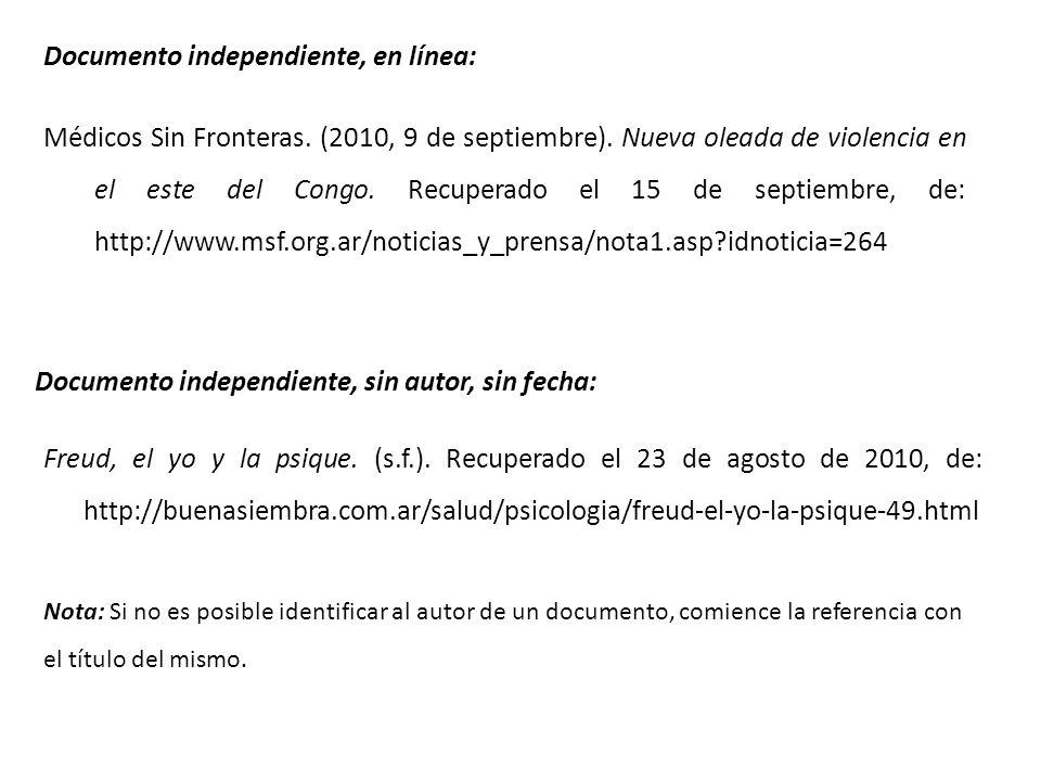 Documento independiente, en línea: