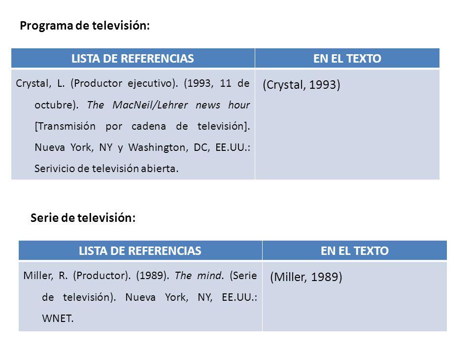 LISTA DE REFERENCIAS EN EL TEXTO LISTA DE REFERENCIAS EN EL TEXTO