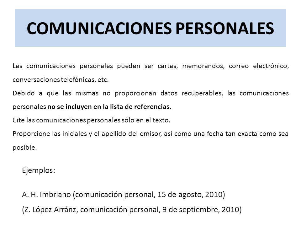 COMUNICACIONES PERSONALES