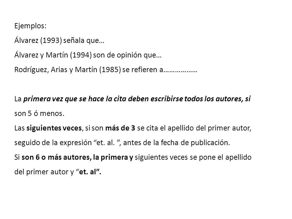 Ejemplos: Álvarez (1993) señala que… Álvarez y Martín (1994) son de opinión que… Rodríguez, Arias y Martín (1985) se refieren a………………