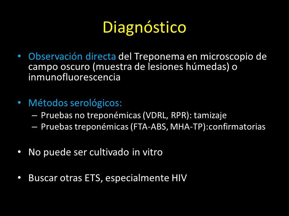 Diagnóstico Observación directa del Treponema en microscopio de campo oscuro (muestra de lesiones húmedas) o inmunofluorescencia.
