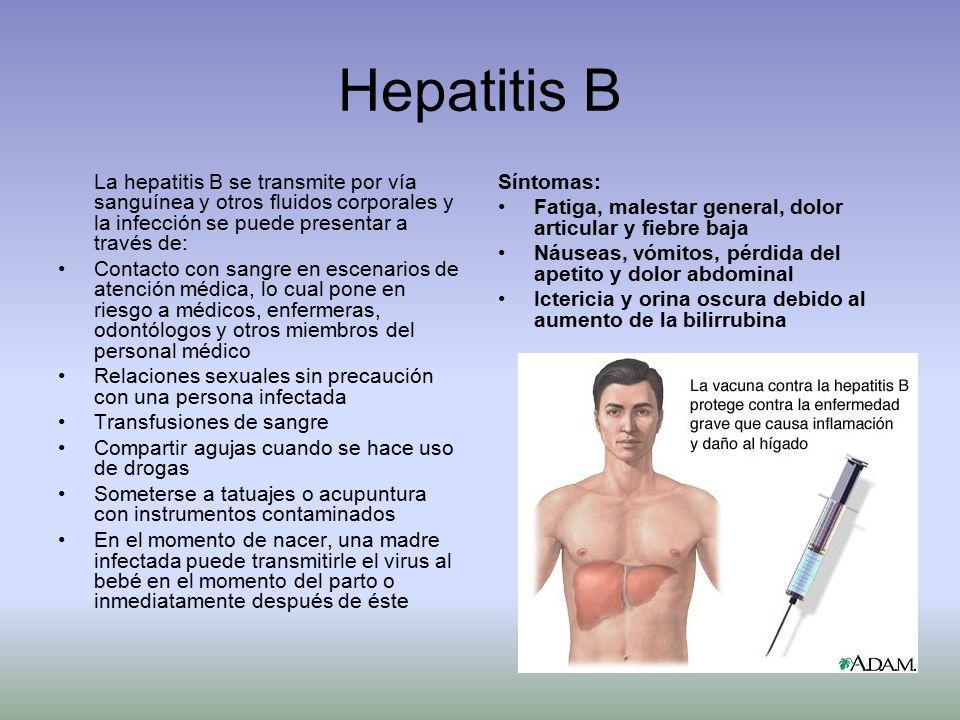 Hepatitis B La hepatitis B se transmite por vía sanguínea y otros fluidos corporales y la infección se puede presentar a través de: