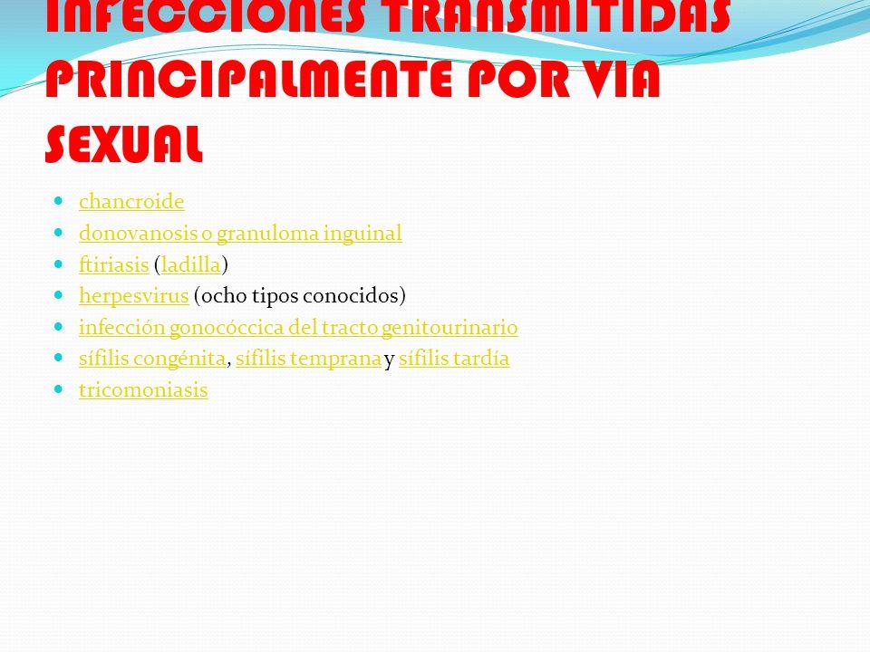 INFECCIONES TRANSMITIDAS PRINCIPALMENTE POR VIA SEXUAL