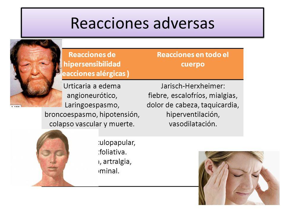 Reacciones adversas Reacciones de hipersensibilidad (Reacciones alérgicas ) Reacciones en todo el cuerpo.