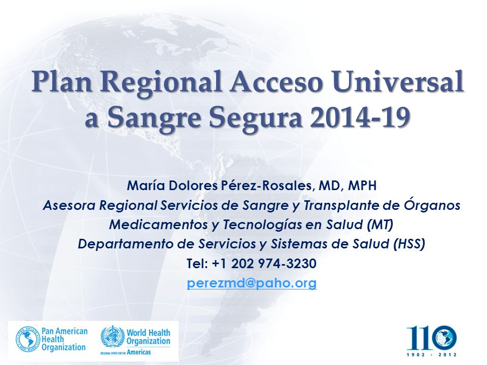 Plan Regional Acceso Universal a Sangre Segura 2014-19