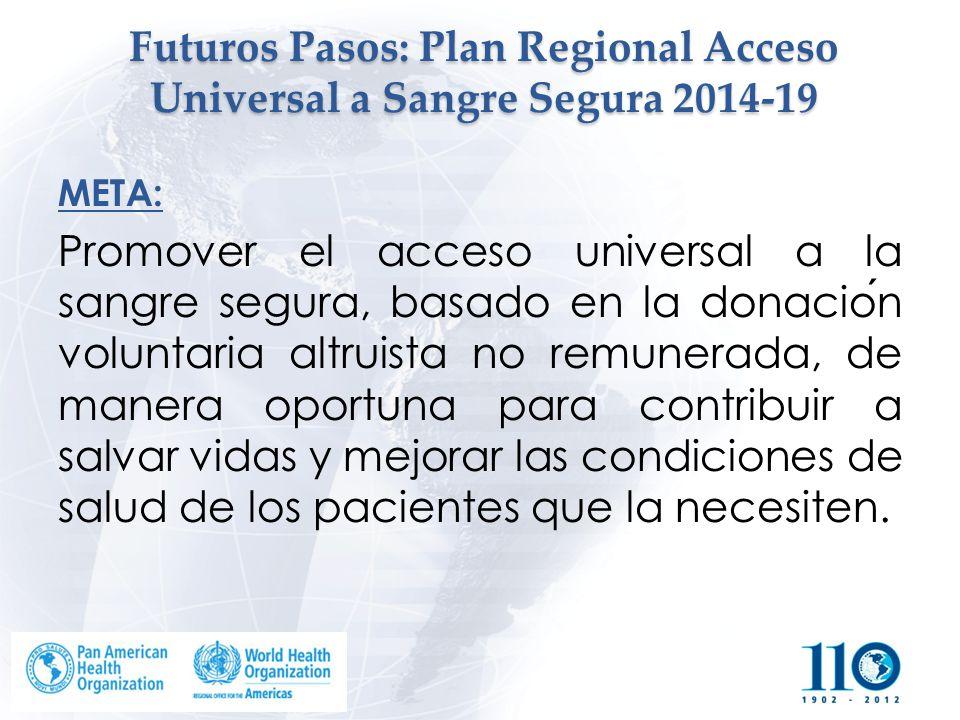 Futuros Pasos: Plan Regional Acceso Universal a Sangre Segura 2014-19