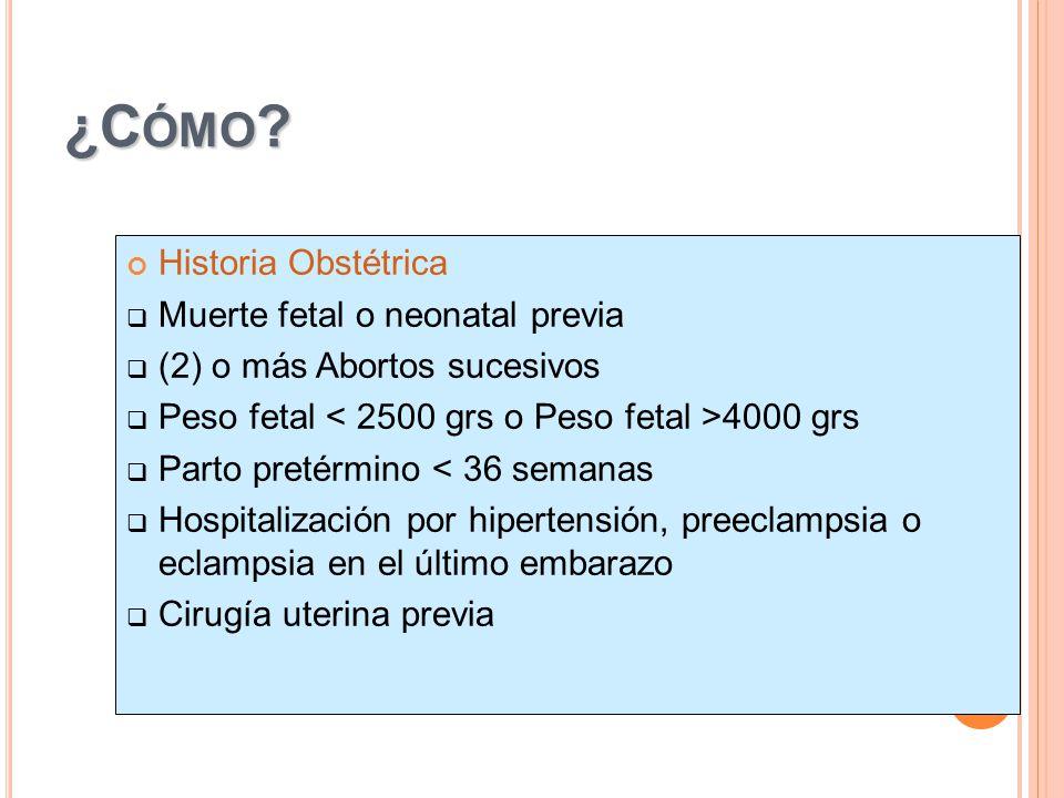 ¿Cómo Historia Obstétrica Muerte fetal o neonatal previa