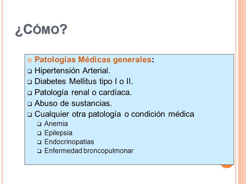 ¿Cómo Patologías Médicas generales: Hipertensión Arterial.