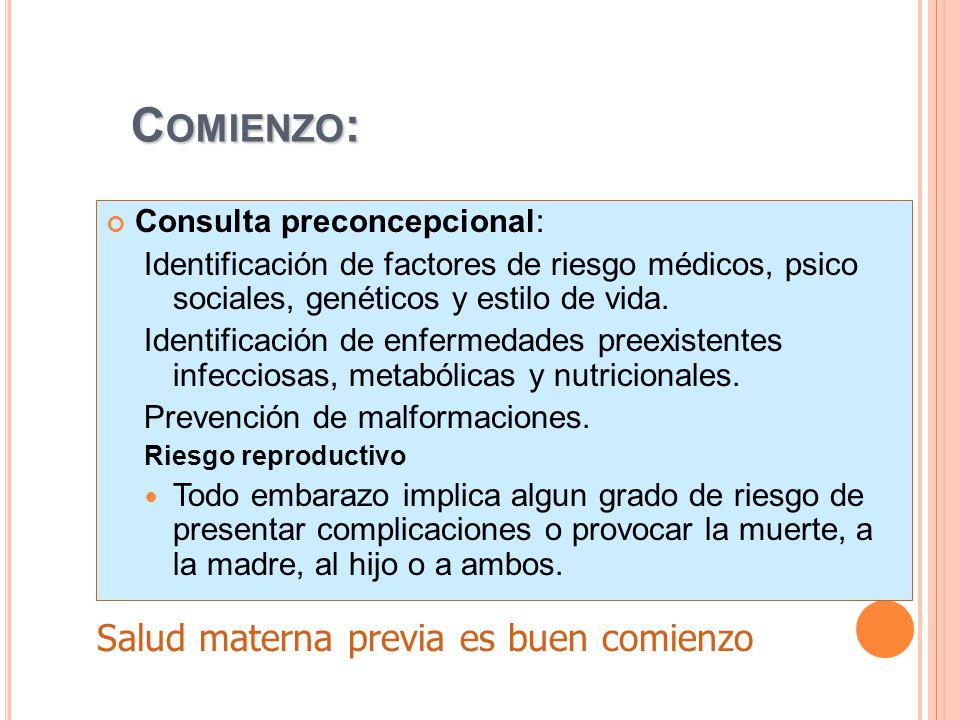 Comienzo: Salud materna previa es buen comienzo