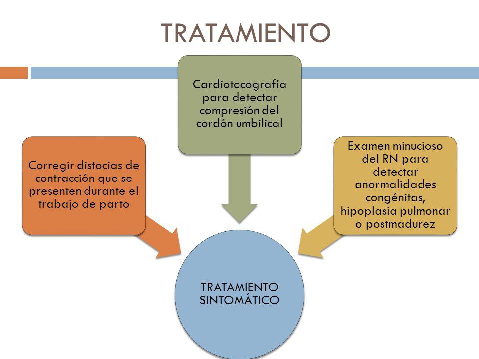 TRATAMIENTO TRATAMIENTO SINTOMÁTICO. Corregir distocias de contracción que se presenten durante el trabajo de parto.