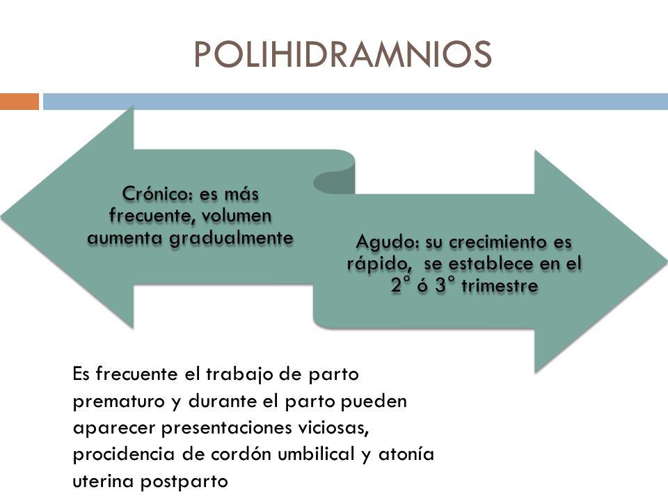 POLIHIDRAMNIOS Crónico: es más frecuente, volumen aumenta gradualmente