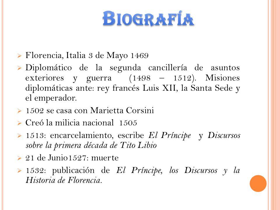 Biografía Florencia, Italia 3 de Mayo 1469