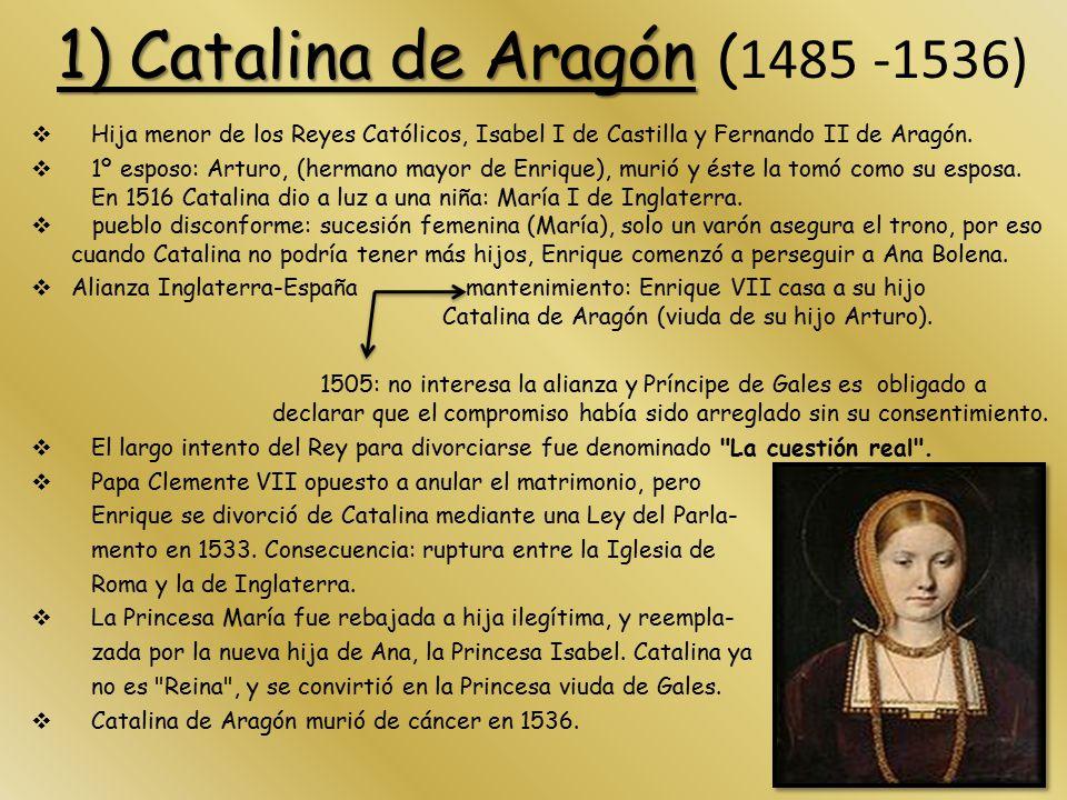 1) Catalina de Aragón (1485 -1536)