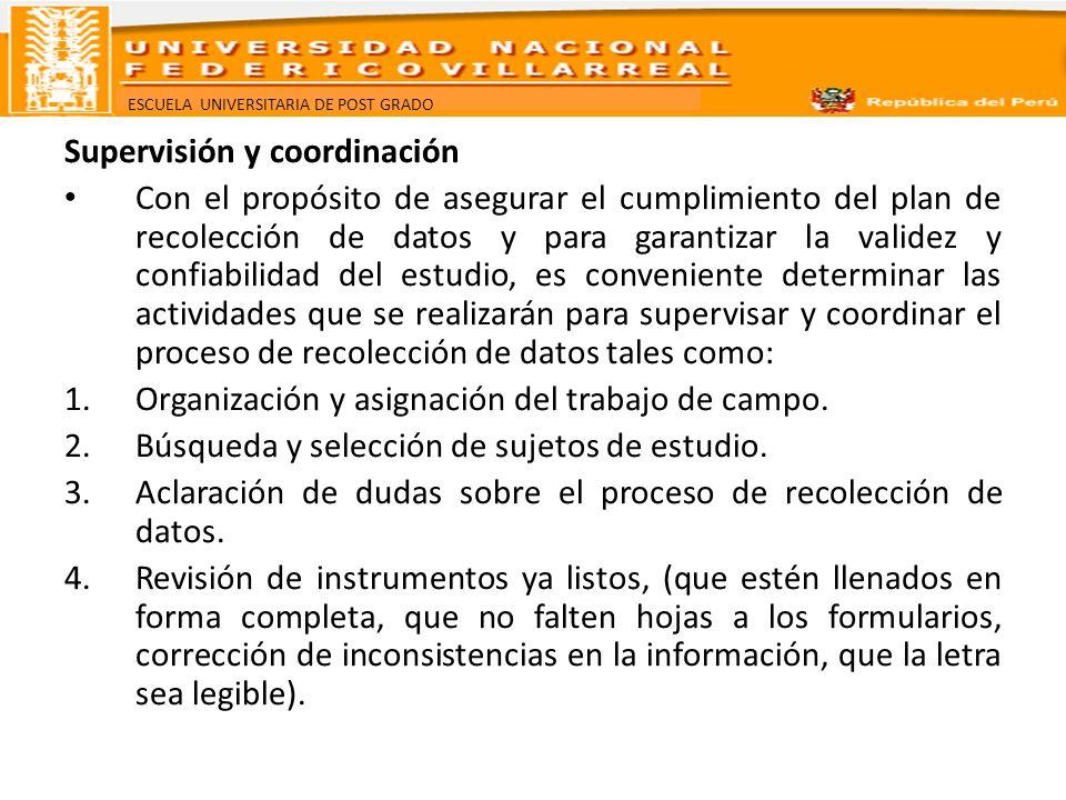 Supervisión y coordinación